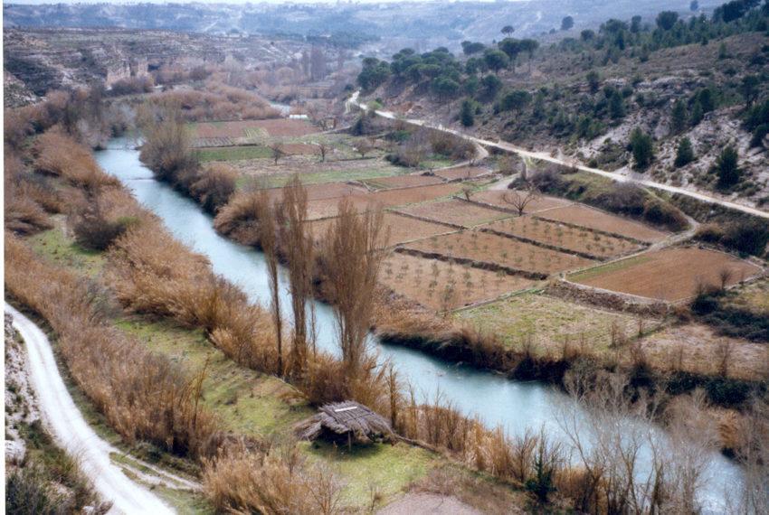 el río Júcar y las huertas desde la finca